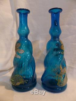 Rare paire de bouteilles torsadées vases legras émaillée anciennes fleurs