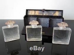 René Lalique Anciens flacons de parfum d'Orsay signés R Lalique. Avec coffret