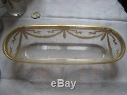 SAINT LOUIS Ancienne garniture Toilette 9p Cristal Or Toilet pad Toilettenkissen