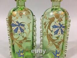 SÈVRES Verrerie ART NOUVEAU Paire d'anciens FLACONS teintés émaillés dorés c1900