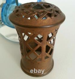 SUPERBE ancienne LAMPE BERGER Y EGYPTIENNE en CRISTAL BLEU