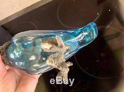 SUPERB carafe AIGUIÈRE ancienne décor PERROQUET cristal lorraine legras Déposé
