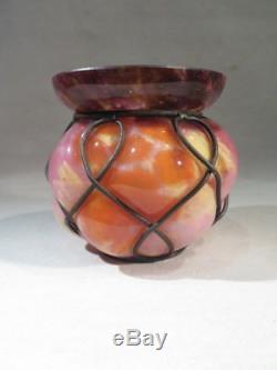 Schneider Ancien Vase Boule En Pate De Verre Monture De Fer Epoque Art Deco