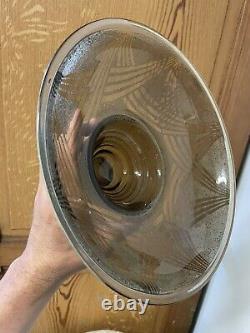 Schneider Coupe Cristal Taillé Ancien Art Deco Design Moderniste Vase Vintage