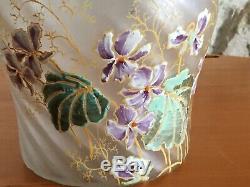 Seau A Biscuits Ancien Legras Verre Emaille Decor De Violettes Art Nouveau