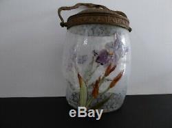Seau Pot A Biscuits Ancien Verre Emaille Probablement Legras Decor Iris