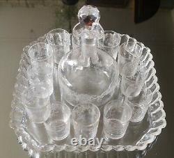 Service à liqueur cristal ancien, Saké, Shot, 12 verres + 1 flacon Napoléon III