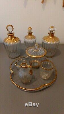 Service de toilette ancien Daum modèle Ducal cotes vénitiennes doré 8 pièces