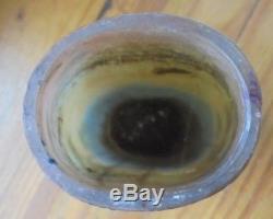 Signé LEGRAS ancien vase berger moutons pate de verre, decor degagé a l'acide