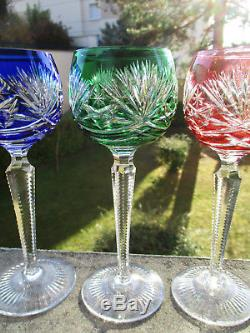 Six anciens verres à Roemer en cristal doublé St Saint Louis Baccarat ou Bohême