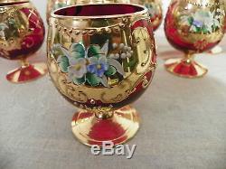 Splendide Service A Digestif En Cristal De Murano Ancien