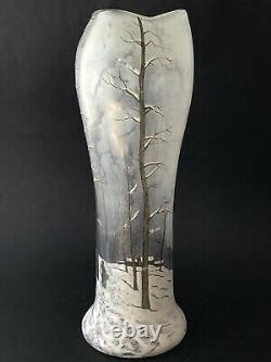 Sublime ancien GRAND VASE LEGRAS Art Nouveau en verre émaillé décor neige 33,3cm