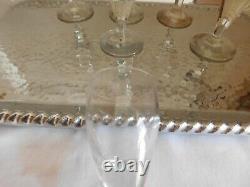 Suite de six anciens verres à pied soufflé XVIII XIXème culot très épais pontil