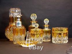 Superbe Ancien Ensemble Parfum Val St Lambert Luxval Art Deco Glass 1930 VSL
