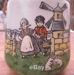 Superbe Ancien Pot A Biscuit Decor Emaille Moulin Breton
