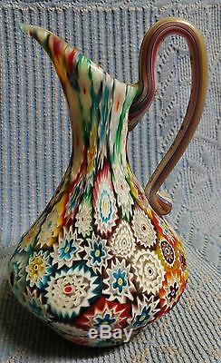 Superbe Ancien Vase Aiguière Millefiori De Murano D1912