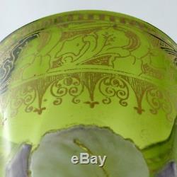 Superbe Grand VASE Ancien, Verre Emaillé LEGRAS Art Nouveau, montjoye/glass/19th