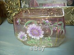 Superbe Jardiniere Ancienne En Verre Emaille / Vase
