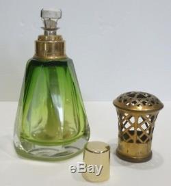 Superbe LAMPE BERGER Ancienne en Cristal Vert de SAINT LOUIS