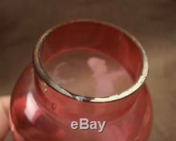 Superbe Paire De Vases Anciens En Verre Emaille Decor Enfants Mary Gregory