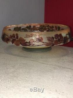Superbe Vase Ancien Coupe Signé Galle Authentique