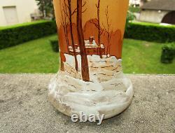 Superbe ancien vase émaillé décor hivernal neige par Théodore Legras Art Nouveau