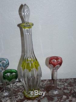 Superbe ancienne CARAFE À LIQUEUR CRISTAL SAINT LOUIS en couleur et 5 verres