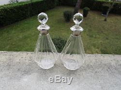 Superbe ancienne paire de carafes flacons en argent massif et cristal Minerve