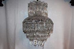 Superbe grand lustre ancien en cristal signé Val Saint Lambert Déposé