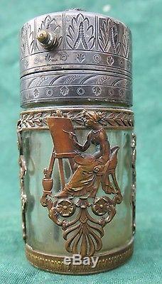 Superbe vaporisateur ancien cristal & bronze ajouré, femmes antique
