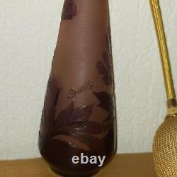 Superbe vaporisateur parfum ancien signé gallé verre dégagé à l'acide