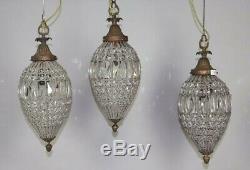 Suspension Ancienne Lustre Lampe en Bronze Cristal et Perles de Verre