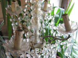T. B. LUSTRE à PAMPILLES ANCIEN bronze/laiton/verre ou cristal à 4 FEUX