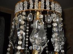 Tres Beau Et Rare Lustre Ancien A Pampilles Cristal 6 Lumieres Baccarat