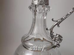 Très belle Aiguière ancienne en Cristal Taillé de Bohème, Monture Métal Argenté