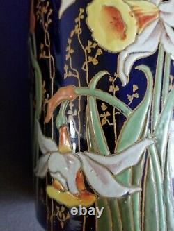 Très rare et magnifique paire de vase émaillés aux Narcisses Legras anciens