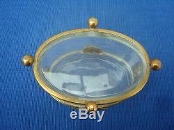 V17 Grande Boite Coffret Cristal Verre Laiton Bronze Ancien XIX Napoleon III