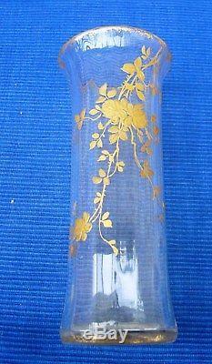V31 TB Vase Ancien Cristal Décor Or Emaillé Baccarat St Louis Legras Montjoye