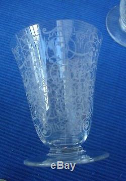 V33 6 Verre Cristal Ancien BACCARAT Modèle Michel Ange H=8cm env Michelangelo