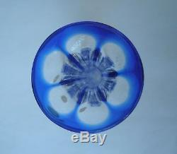 V35 Vase Soliflore Cristal St Louis XIXe Taillé Doublé Bleu Ancien Baccarat