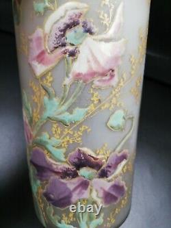 VASE ANCIEN Tube Émaillé Décor Floral Fleurs Détail Doré Raffiné PETUNIA Pastel