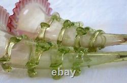 VASE CORNET, paire de vases cornets, murano, cristal, verre, vase cornet ancien