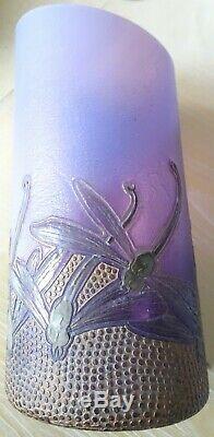 Vase Ancien Art Nouveau En Patte De Verre / Montjoye / Galle / Daum / Luneville