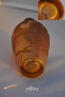 Vase Ancien Art Nouveau Pate De Verre Irise Iridiscent Glass