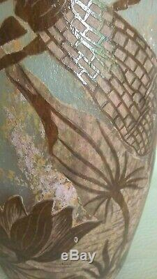 Vase LIBELLULES Ancien Signé Daum État De Collection