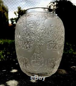 Vase Lalique Ancien Modèle AUX BICHES signature sablée LALIQUE FRANCE