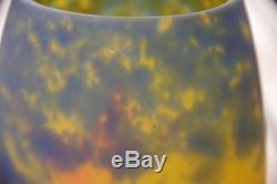 Vase ancien en pâte de verre Muller Frères Lunéville signé Art Nouveau Déco