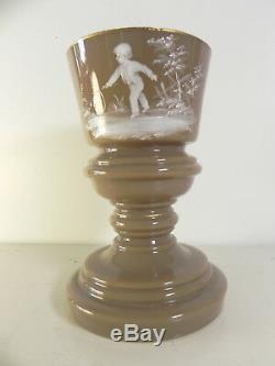 Vase ancien opaline emaillée signé decors enfant jouant cerceau MARY GREGORY