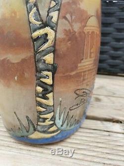 Vase ancien pâte de verre émaillée signé Clio école Nancy dlg Legras