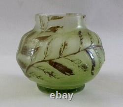 Vase ancien signé Gallé décor fougères